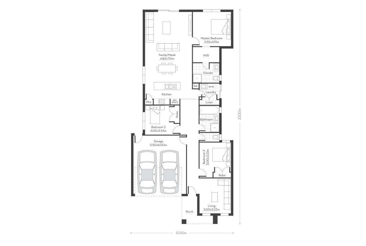 Monterey 20 - 3 Bed floor plans