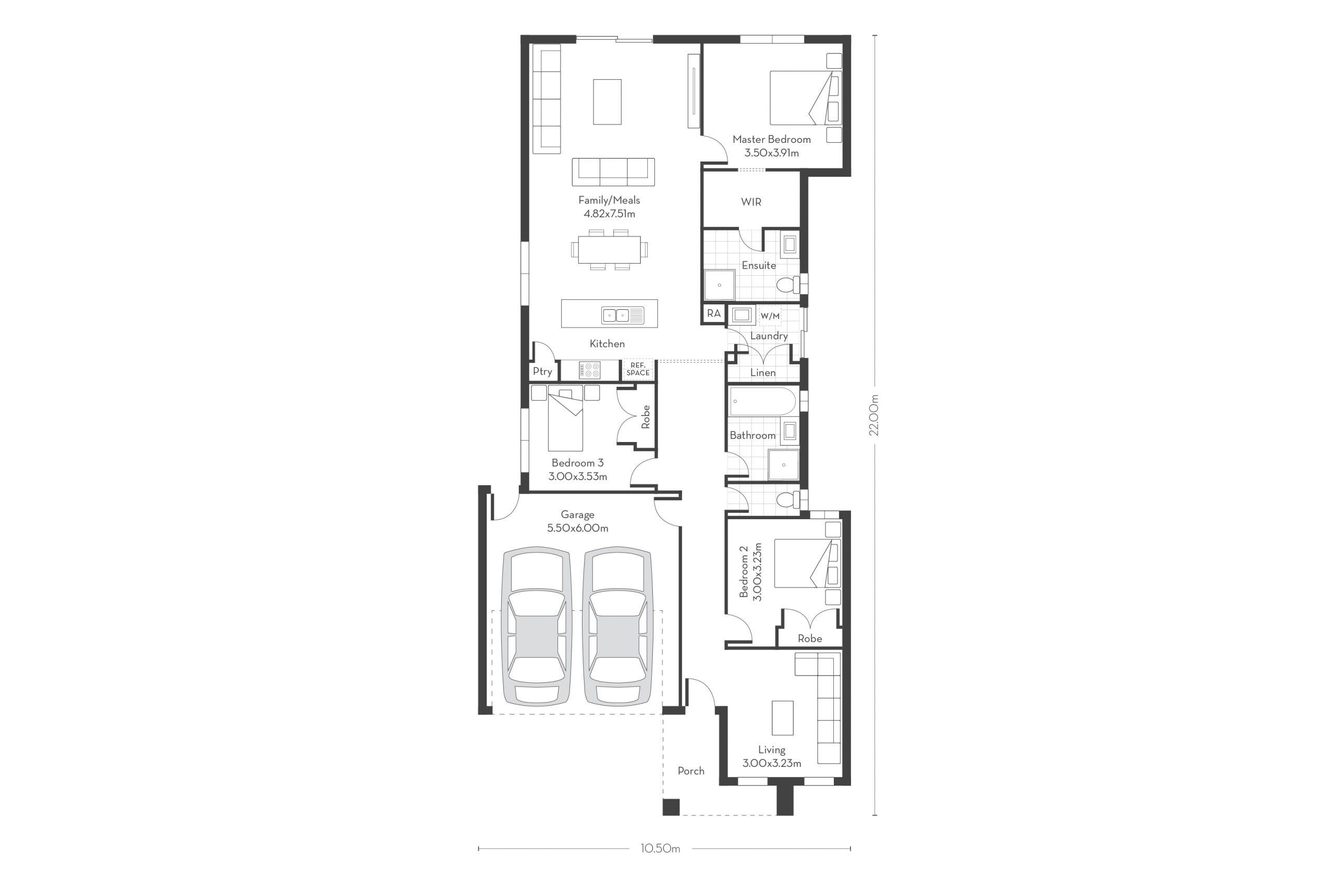 Monterey 20 – 3 Bed Floor Plans